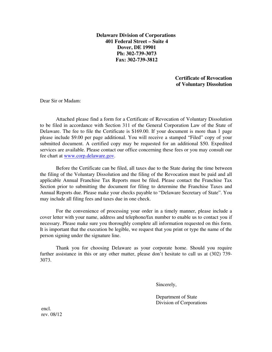 certificate dissolution delaware voluntary templateroller revocation pdf incorporation corporation