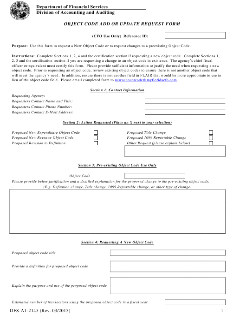 Form DFS-A1-2145  Printable Pdf