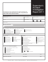 "Form 207-1 ""Supervisor's Accident Investigation Report"" - Connecticut"