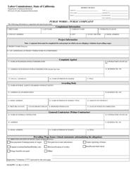 """DLSE Form PW1A """"Public Works - Public Complaint"""" - California"""