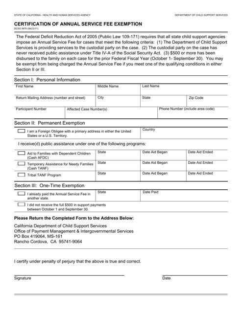 Form DCSS0678  Printable Pdf