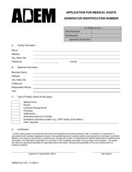 ADEM Form 410 Application for Medical Waste - Generator Identification Number - Alabama