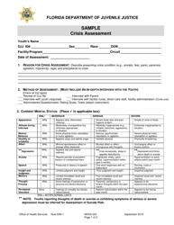 "DJJ Form MHSA023 ""Crisis Assessment - Sample"" - Florida"