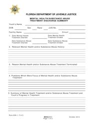 "DJJ Form MHSA011 ""Mental Health/Substance Abuse Treatment Discharge Summary"" - Florida"