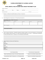"DJJ Form MHSA015 ""Initial Mental Health/Substance Abuse Treatment Plan - Sample"" - Florida"