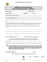 "DJJ Form HS020 ""Parental Notification of Health-Related Care: General"" - Florida"