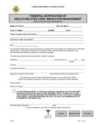 """DJJ Form HS021 """"Parental Notification of Health-Related Care: Medication Management"""" - Florida"""