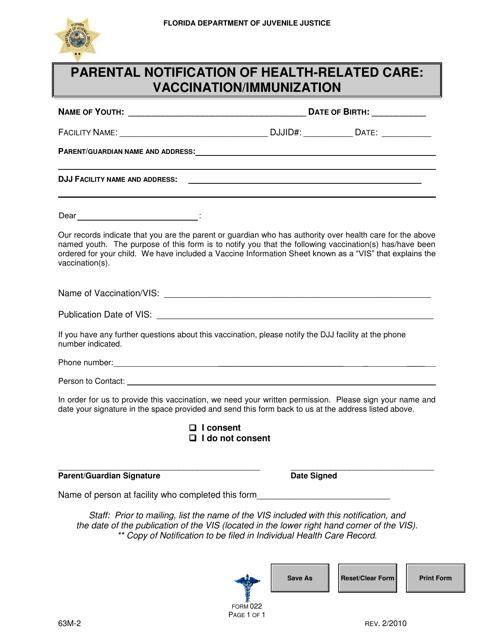 DJJ Form HS022  Printable Pdf