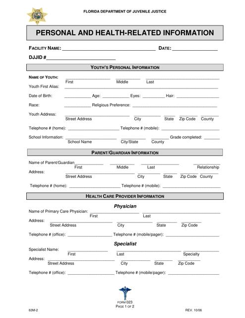 DJJ Form HS023  Printable Pdf