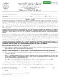 Form NR-AF 1 Affidavit of Seller's Residence - Alabama