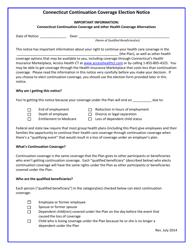 """Connecticut Continuation Coverage Election Notice Form"" - Connecticut"