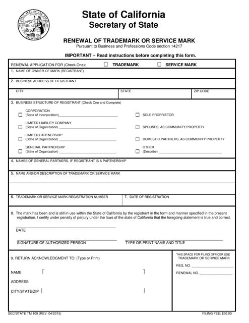 Form TM109  Printable Pdf