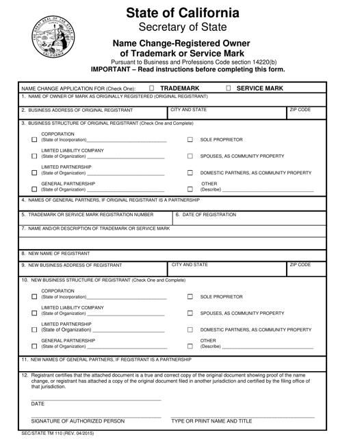 Form TM110  Printable Pdf