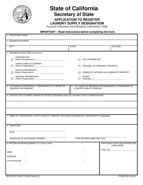 Form TM/LM119  Printable Pdf