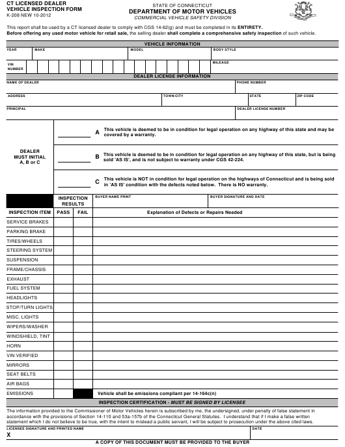Form K-208  Printable Pdf