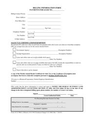 DEP Form 18-21.900(1) Billing Information Form - Florida
