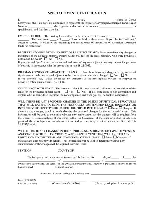 DEP Form 18-21.900(2)  Printable Pdf