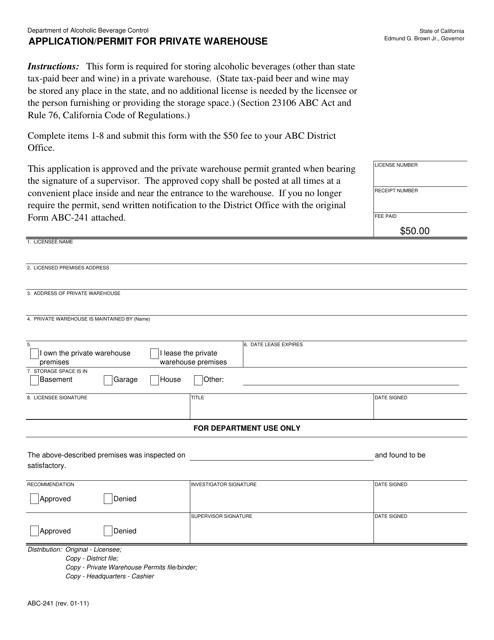 Form ABC-241  Printable Pdf