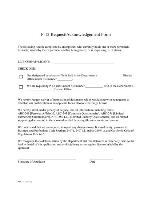 Form ABC-811  Printable Pdf
