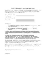 "Form ABC-812 ""P-12(A) Request/Acknowledgement Form"" - California"