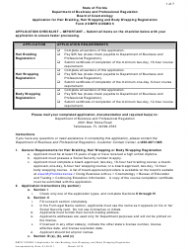 Form DBPR COSMO 5 Application for Hair Braiding, Hair Wrapping and Body Wrapping Registration - Florida