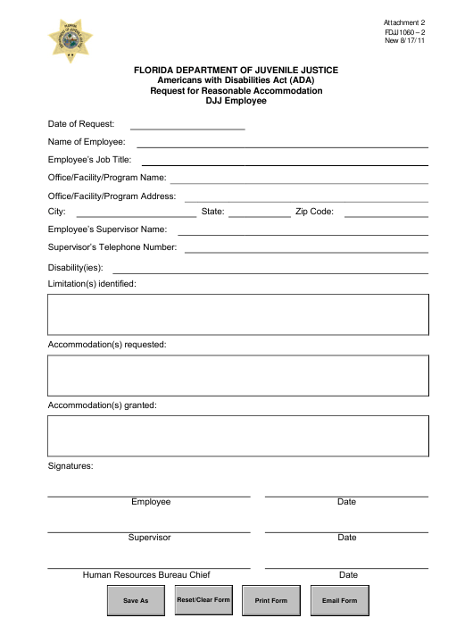 """""""Ada Request for Reasonable Accommodation Employee"""" - Florida Download Pdf"""
