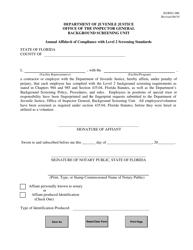 "DJJ Form IG/BSU-006 ""Annual Affidavit of Compliance With Level 2 Screening Standards"" - Florida"