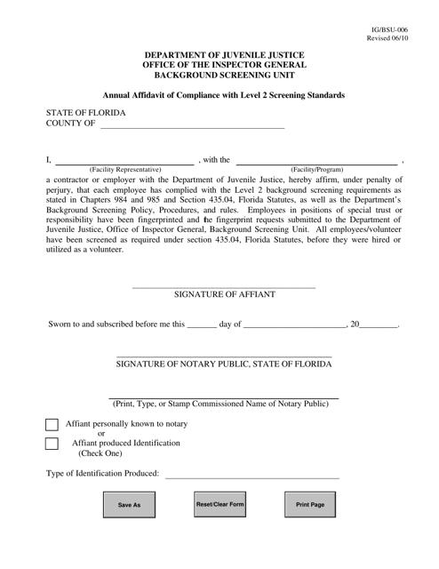 DJJ Form IG/BSU-006  Printable Pdf