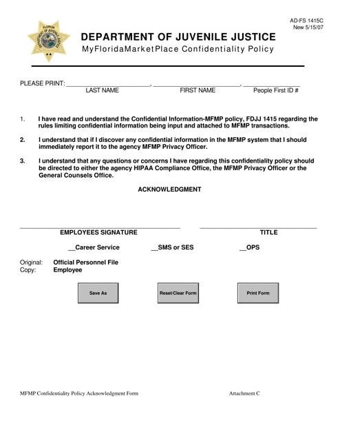DJJ Form AD-FS1415C Attachment C  Printable Pdf