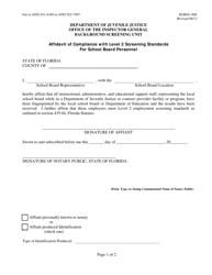 "DJJ Form IG/BSU-008 ""Affidavit of Compliance With Level 2 Screening Standards for School Board Personnel"" - Florida"