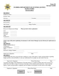 "DJJ Form 1B ""Badge Form"" - Florida"
