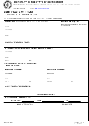 "Form ST-1-1.0 ""Certificate of Trust - Domestic Statutory Trust"" - Connecticut"