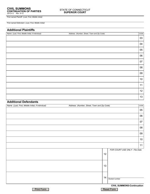Form JD-CV-2  Printable Pdf
