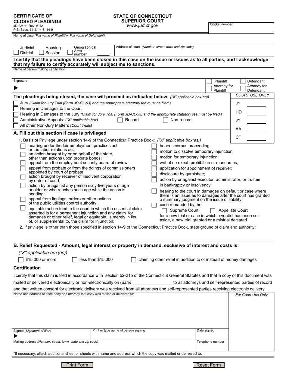certificate cv pleadings closed connecticut templateroller jd form template