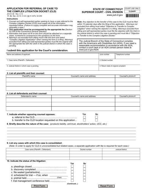 Form JD-CV-39  Printable Pdf