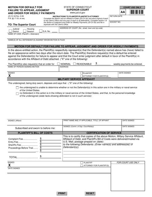 Form JD-CV-49  Printable Pdf
