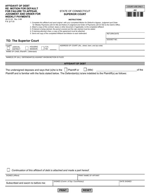 Form JD-CV-52  Printable Pdf