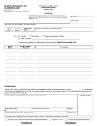 Form JD-CL-6 Short Calendar List - Claim/Reclaim - Connecticut