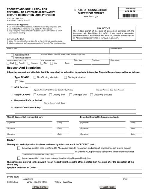 Form JD-CL-54  Printable Pdf