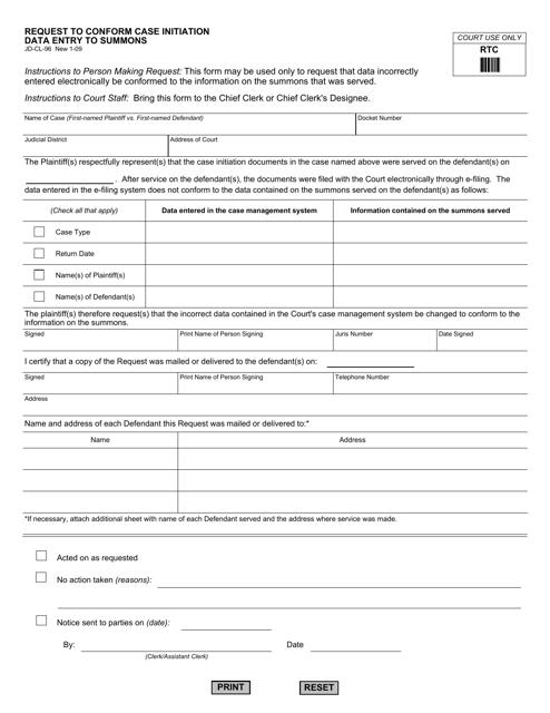 Form JD-CL-96  Printable Pdf