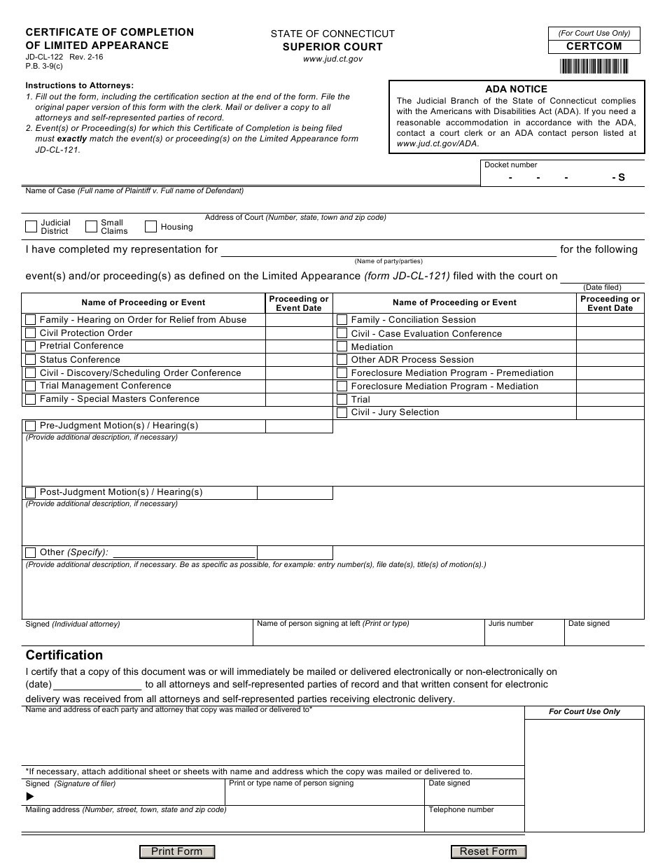 certificate appearance form cl completion connecticut jd limited pdf templateroller fillable template