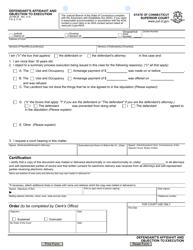 Form JD-HM-26 Defendant's Affidavit and Objection to Execution - Connecticut