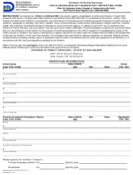 Child Abuse/Neglect Mandatory Reporting Form - Delaware