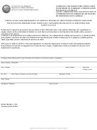"""DLSE Form 281 """"Application for Permission to Employ Minors in the Entertainment Industry"""" - California (English/Spanish)"""