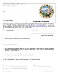 "DLSE Form 564 ""Information for Subpoena"" - California"