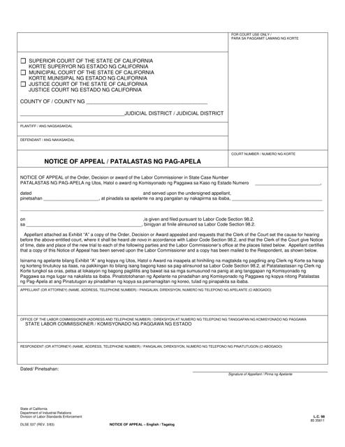 DLSE Form 537 Download Fillable PDF, Notice of Appeal
