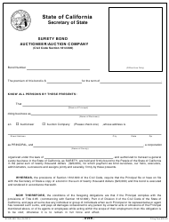 "Form SFSB-455 ""Auctioneer/Auction Company Surety Bond"" - California"