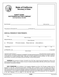 Form SFSB-455 Auctioneer/Auction Company Surety Bond - California