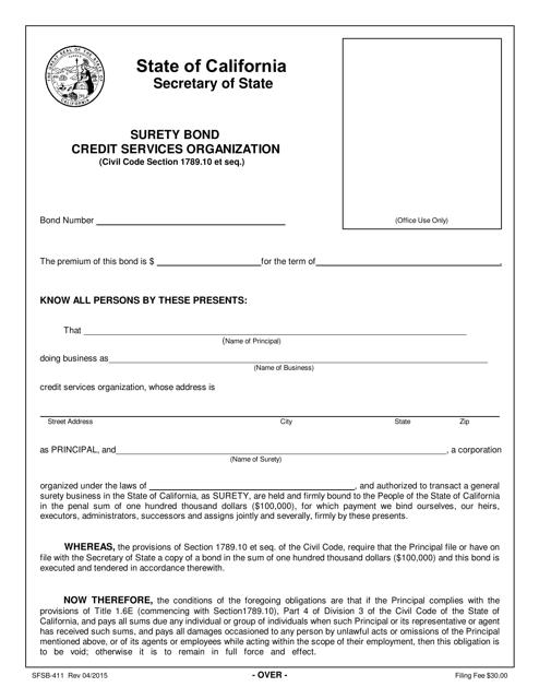 Form SFSB-411  Printable Pdf