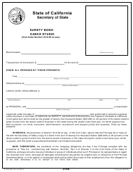 Form SFSB-406 Dance Studio Surety Bond - California